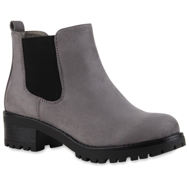 Stiefelparadies Damen Stiefeletten Chelsea Boots mit Blockabsatz Profilsohle Plateau Vorne Flandell Grau Bernice