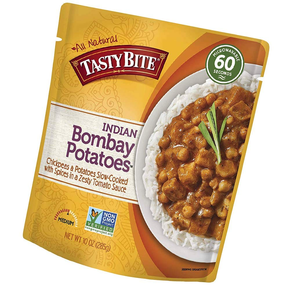 Indian Entree Bombay Potatoes 10 Ounce (Pack of 6), Fully Cooked Indian Entrée with Chickpeas and Potatoes with Spices in a Tomato Sauce, Vegan, Gluten Free, Microwaveable (Limited Edition)
