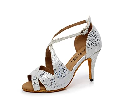 JSHOE Damen Latin Dance Schuhe Salsa/Tango/Tee/Samba/Modern/Jazz Schuhe Sandalen High HeelsB-heeled85cm-UK55