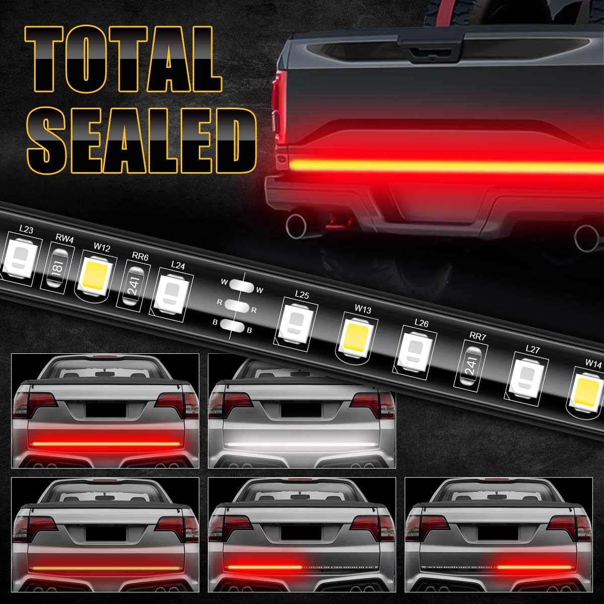 "AMBOTHER LED Tailgate Light Bar 49"" Truck Brake Flexible Strip Trailer Tail Lights Turn Signal Reverse Back Up Stop Running Light for Pickup RV SUV Van Car Jeep, Red/White, No Drill Needed"