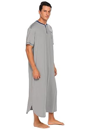 on sale 4bdbc 801d8 ADOME Herren Nachthemd Kurzarm Lang Pyjama Knöpfleiste Sleepshirt  Nachtwäsche Herrennachthem M-XXXL mit Streifen Manschette Dekoration  Schwarz Grau