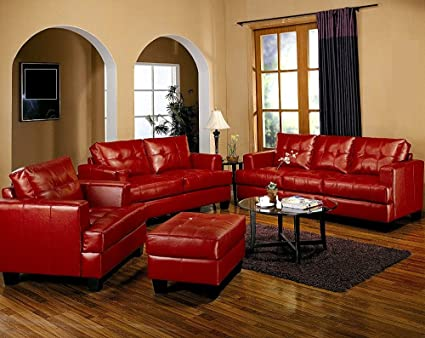 Amazon.com: 4pc Red Couch Set Sofa Living Room Home Office ...