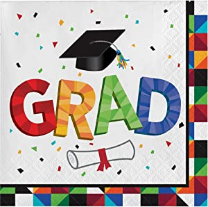 Creative Converting 192 Count Paper Beverage Napkins for Graduation Party, Fractal Fun