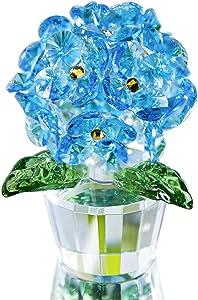 H&D HYALINE & DORA Crystal Hydrangea Flower Figurine Glass Floral Ornament Office Table Home Decor, Light Blue