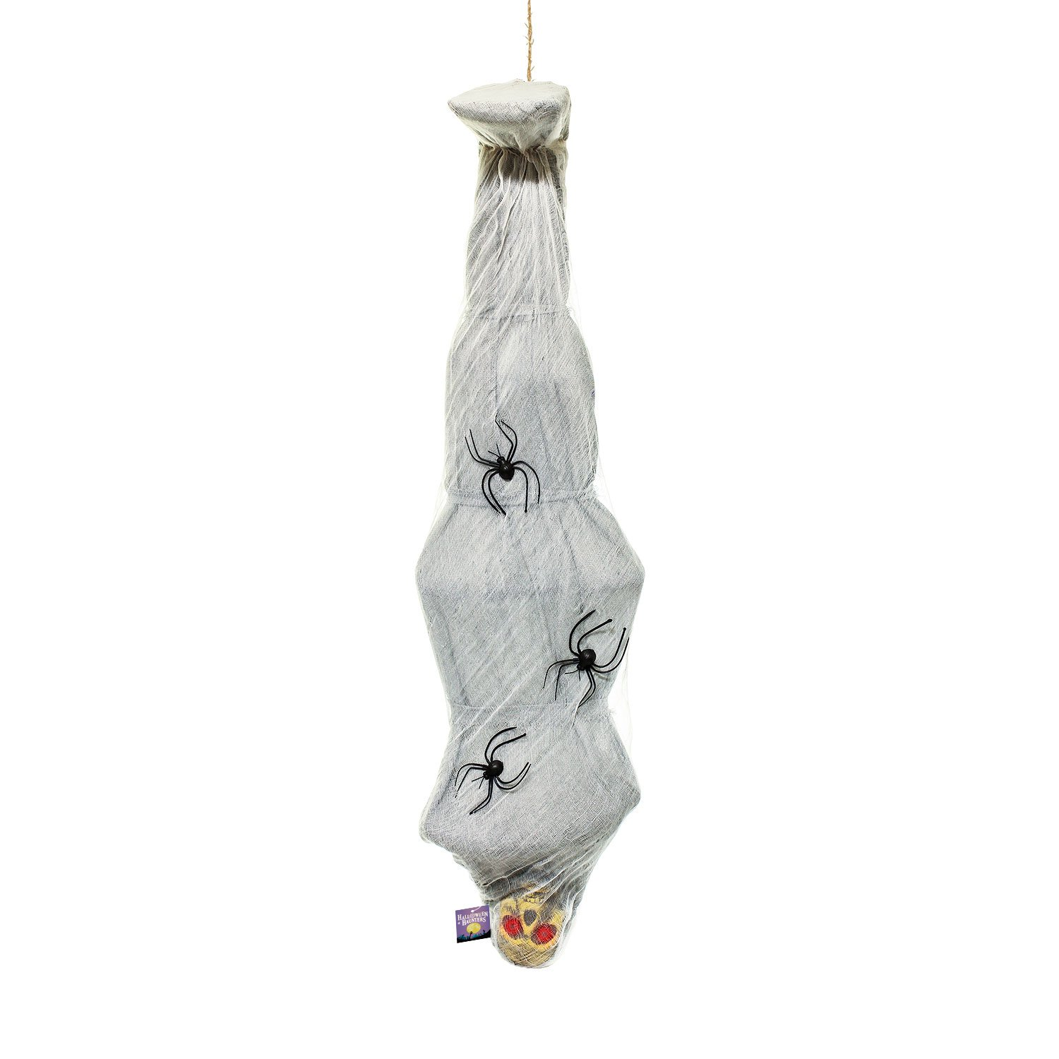 Halloween Haunters Hanging 66'' Animated Skeleton Body Inside Cocoon Spider Web Prop Decoration - Shaking Body & Red Light-Up Eyes (Battery Operated)