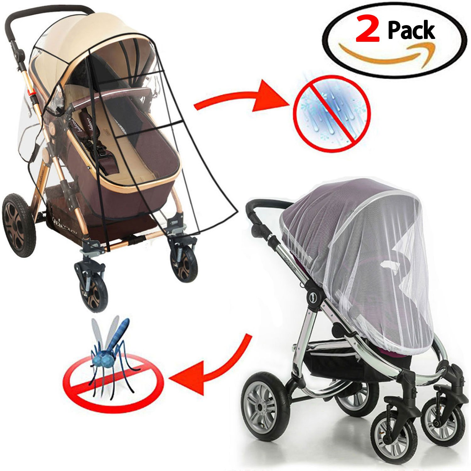 Universal Stroller Rain Cover - Baby Mosquito Net (2-Pieces Set) Waterproof, Windproof Protection Stroller Weather Shield Food Grade Plastics Rain Cover Originalidad