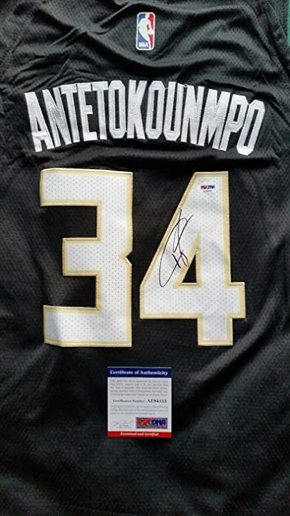 24355b6d8643 Image Unavailable. Image not available for. Color  Giannis Antetokounmpo  Autographed Signed Milwaukee Bucks Jersey with Memorabilia PSA DNA ...