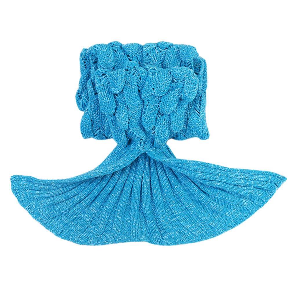 Airdom Mermaid Tail Blanket for Kids Toys Little Crochet Mermaid Blankets Best Birthday for Girls All Seasons Sleeping Throws 55.18 inch x 27.56 inch(A-Scaly-Kids-Blue) by Airdom (Image #6)