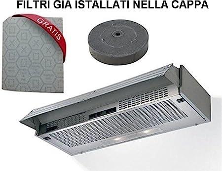 Campana con frontal extraíble filtrante/campana con filtros incluidos marca Hélices cm 60 color gris claro: Amazon.es: Hogar