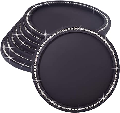 New Bling Bling Large Drink Coasters Absorbs Moisture And Prevents Table Damage Modern Black Rubber Coaster With Non Slip Bottom For Drinking Glasses Crystal Rhinestone Coaster 8 Pack Amazon Ca Home Kitchen