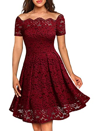 Amazon Missmay Womens Vintage Floral Lace Boat Neck Cocktail