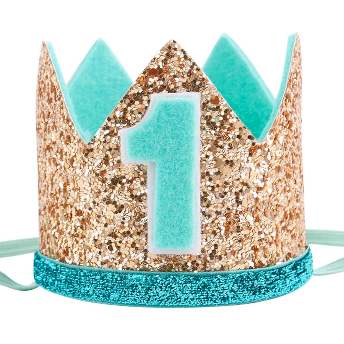 Celebris Glitter Baby Boy First Birthday Crown Hat & Headband for Little Prince Princess Cake Smash Photo Prop (Gold & Black 1