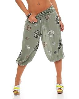 ZARMEXX Damen 3 4 Pumphose Capri Pluderhose im Harem-Stil kurze Sommerhose  Yoga Aladinhose c0bdbb5b55