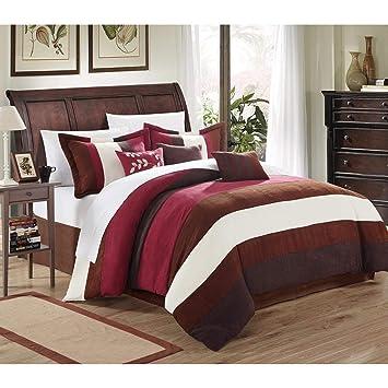 7pc Queen Burgund Weiß Luxuriöse Tröster Set Moderne Bettwäsche