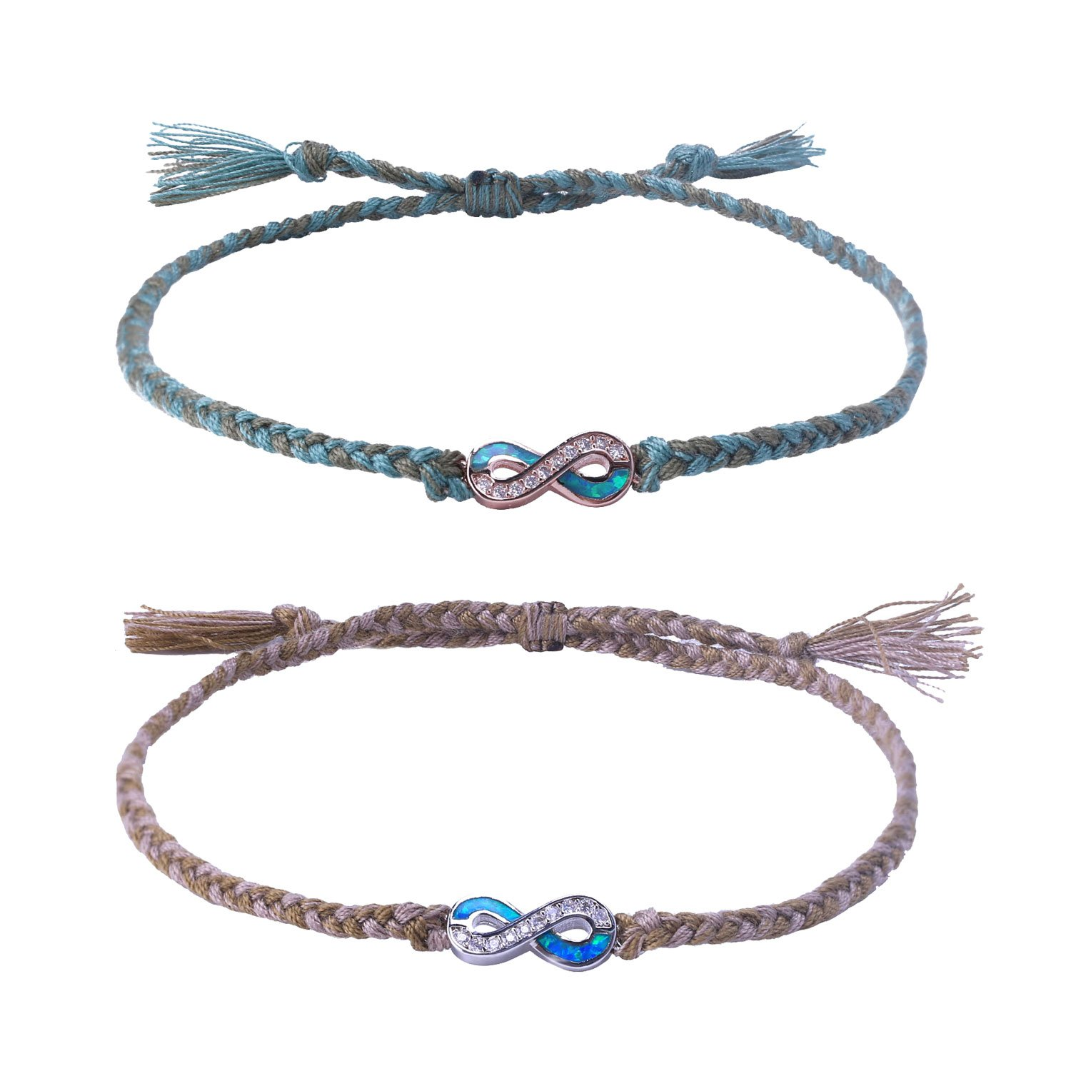 C·QUAN CHI Jewelry Bohemian Braided Friendship Bracelets Woven String Bracelet Boho Style Jewelry Opal Infinity Endless Love Symbol Charm Adjustable Bracelet Lover Couple Bracelet Gifts for Women Man