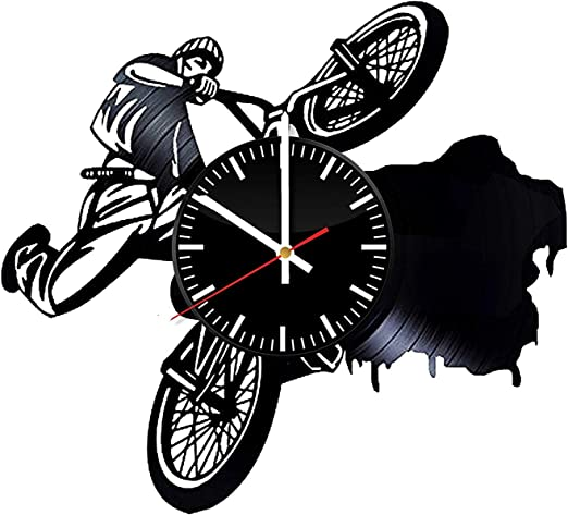 LKCAK Reloj de Pared de Vinilo BMX - Regalo para Bicicleta de ...
