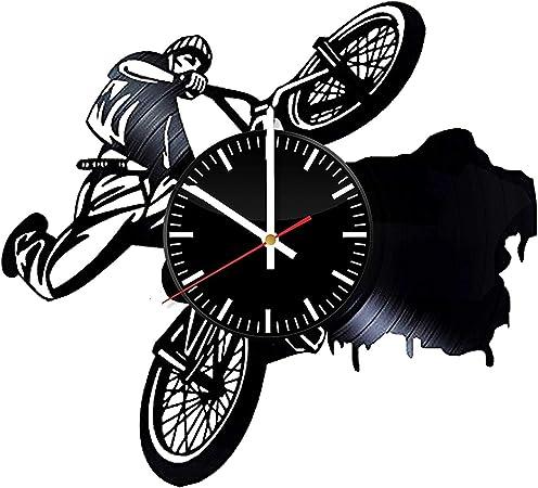 LKCAK Reloj de Pared de Vinilo BMX - Regalo para Bicicleta de Navidad Bicicleta de cumpleaños Regalo Original de Navidad - Sala de Arte Decoración para el hogar Decoración Hecha a Mano:
