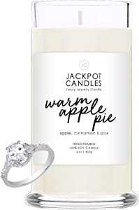 Warm Apple Pie Candle with Ring Inside 21oz Jar (Surprise Jewelry Valued at $15 to $5,000) Ring Size 8