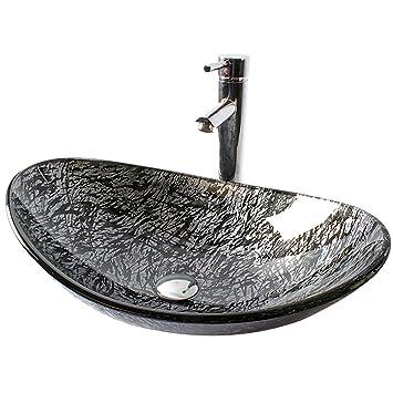 HomeLava Lavabo Vasque en Verre Trempé Gris , à poser la salle de ...