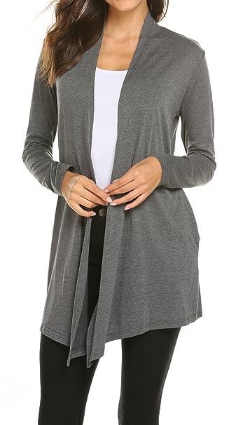a790c4d6b5fd1 Newchoice Women s Soft Drape Front Open Fall Duster Long Sleeve ...