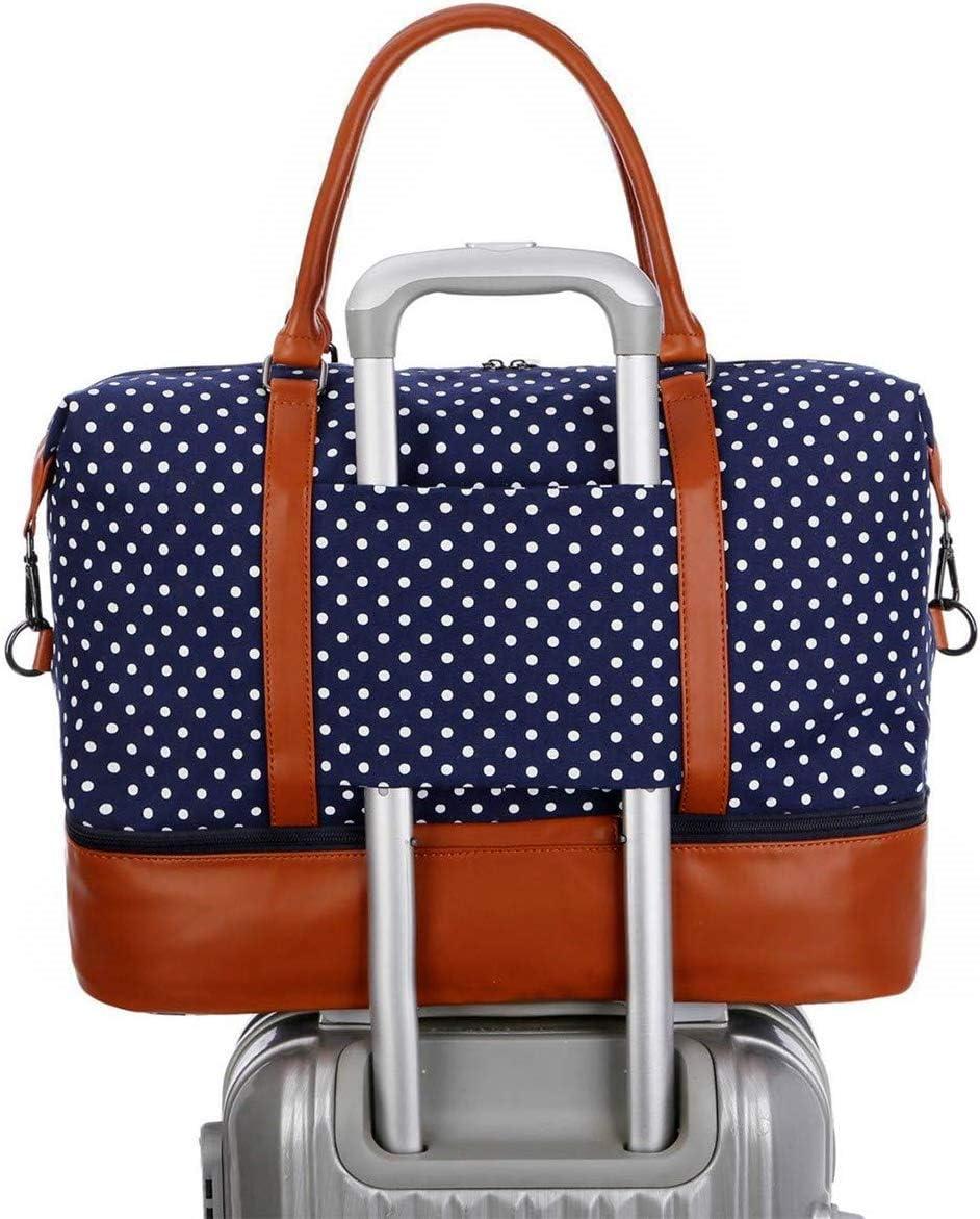 Black Dot BAOSHA HB-28 Ladies Women Canvas Travel Weekender Bag Overnight Carry-on Shoulder Duffel Tote Bag
