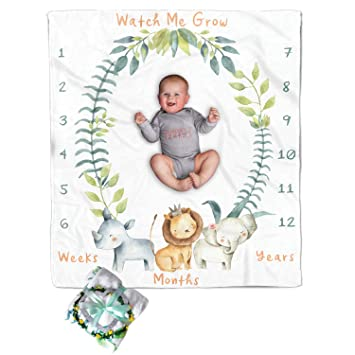 EG/_ Newborn Baby Infants Milestone Blanket Mat Photography Prop Monthly Growth P