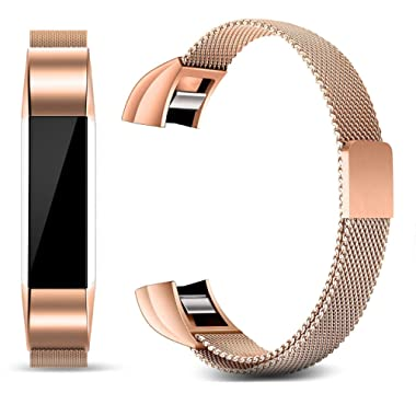 Konikit Bands Compatible Fitbit Alta/Alta HR/Ace, Milanese Loop Stainless Steel Metal Magnetic Replacement Accessories Bracelet Wristbands Small Large for Women Men, Silver, Rose Gold, Champagne