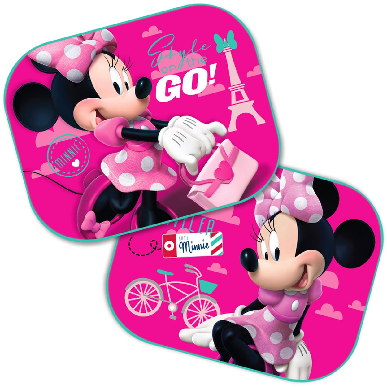 2 x Car Window Sun Shades - Universal Baby Car Sunshades - Blocks Harmful UV Rays Sun Glare Heat - Protection for Your Kids (Minnie Mouse) Sola