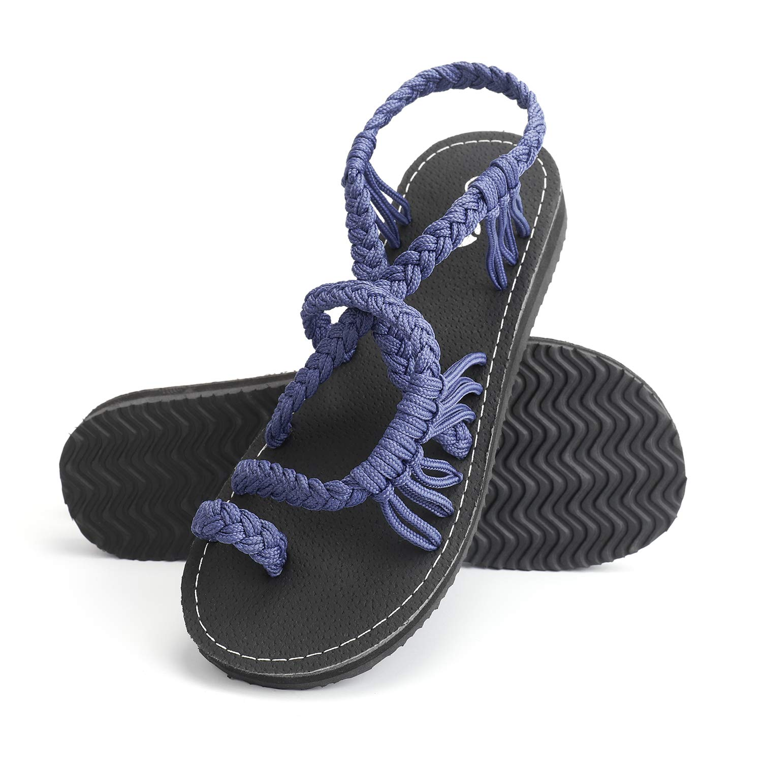 619b17bfe9431 Rekayla Flat Sandals - Braided Rope Walking Sandals for Women