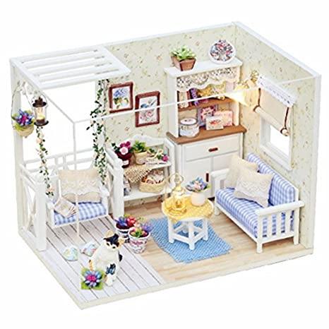 Wind Dollhouse Miniature DIY Dream House Kit With Cover Wood Toy Doll House  Model Handcraft Christmas