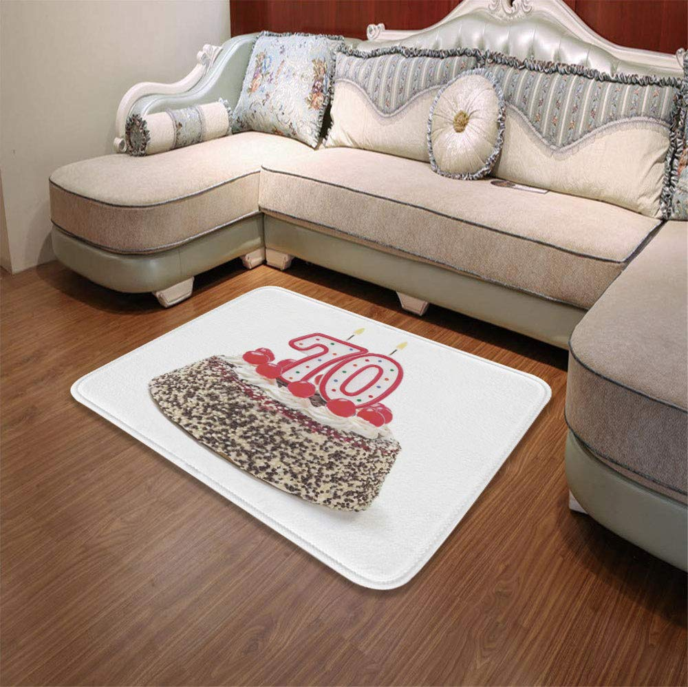 YOLIYANA Polyester Carpet,70th Birthday Decorations,for Meeting Room Dining Room,55.12'' x78.74'',Birthday Cake with 70 Number Candles