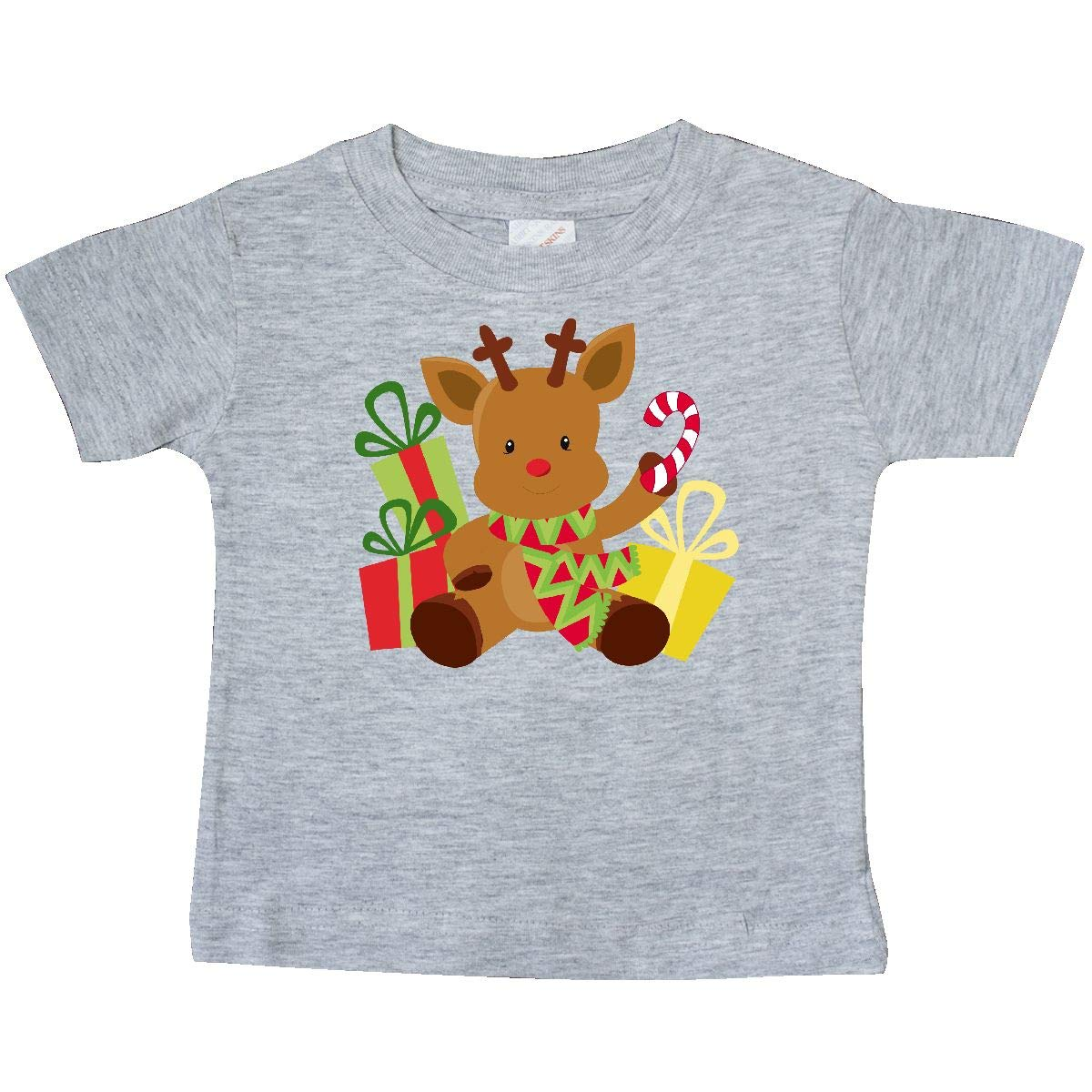 inktastic Christmas Reindeer with Presents and Candy Cane Baby T-Shirt
