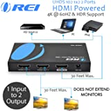 4K 1 x 2 HDMI Splitter by OREI, UltraHD 1 in 2 Out 2 Port 4K@60hz 4:4:4 8-bit - HDMI 2.0, HDCP 2.2, 18 Gbps - Supports…