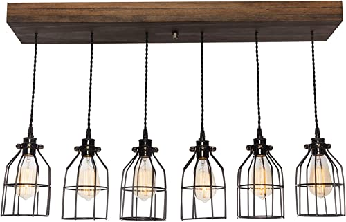 West Ninth Vintage Fayette Wood Pendant Chandelier Light
