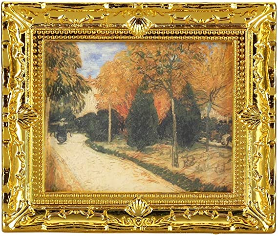 1:12Doll House Miniature Gold Frame Art Wall Picture Autumn Scenery Oil Paint