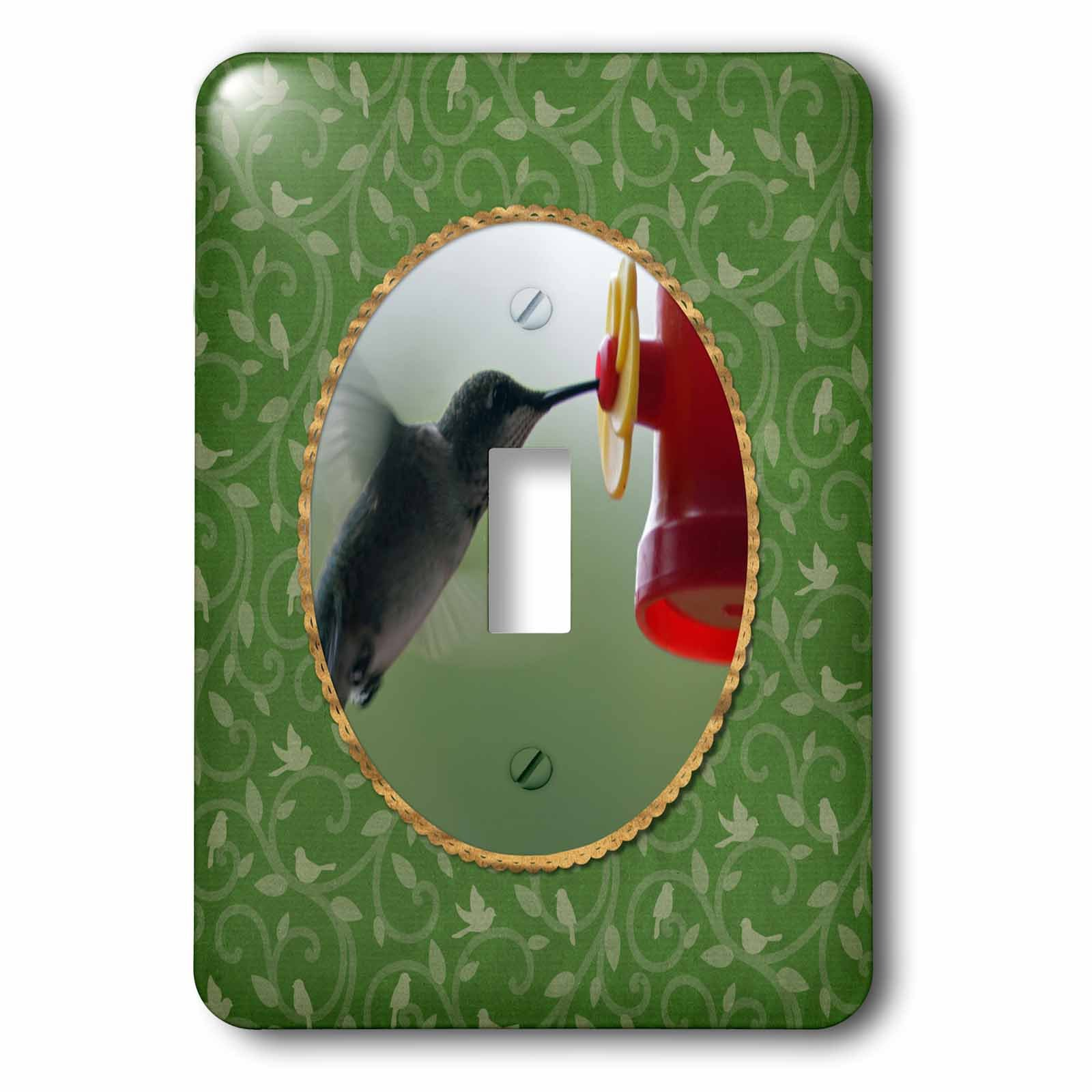 3dRose Beverly Turner Bird Photography - Hummingbird at Feeder in Round, Birds on Branches, Green - Light Switch Covers - single toggle switch (lsp_274408_1)