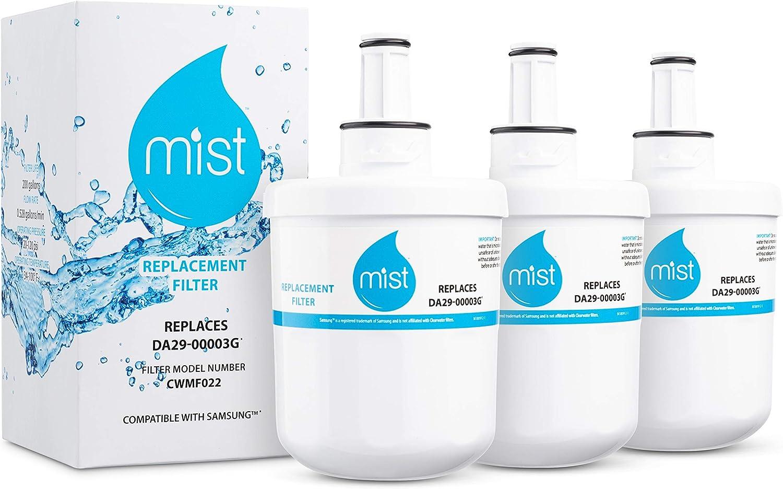 Mist Samsung Aqua-Pure Plus DA29-00003G, DA29-00003F, DA29-00003B, DA29-00003A, HAFCU1, HAFIN1/EXP, HAFIN2/EXP Water Filter Replacement 3 Pack