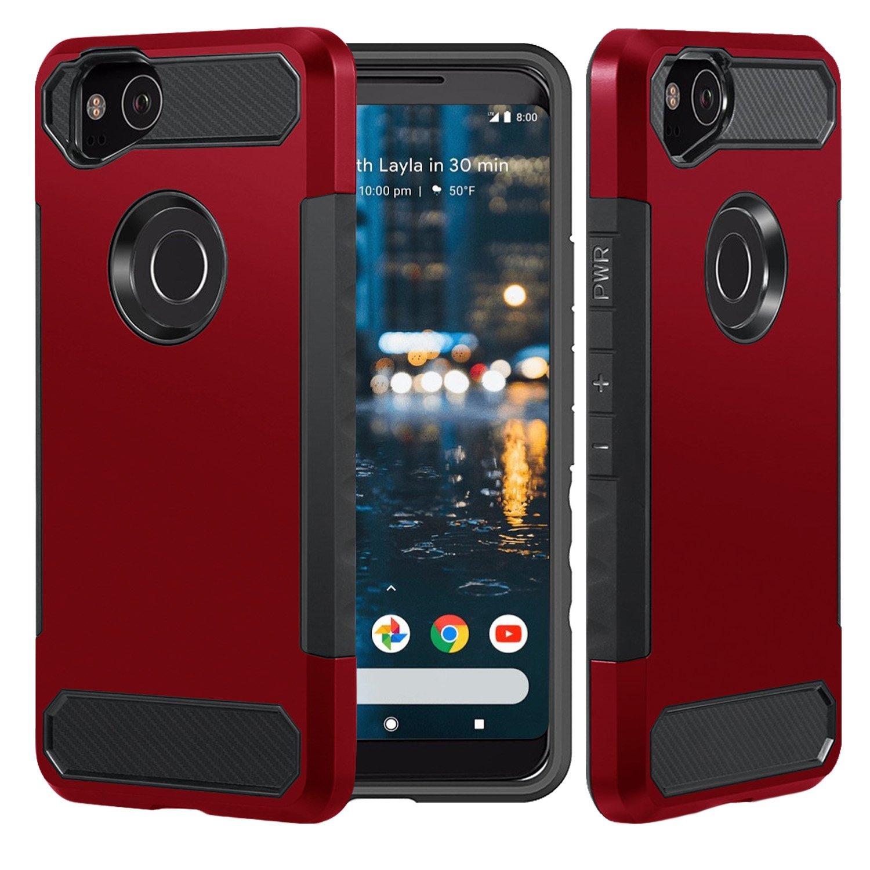 best authentic 0b4e3 a5cc6 Dailylux Google Pixel 2 XL Case, [Carbon Fiber] Slim Fit Heavy Duty Dual  Layer Anti-Scratches Protective Hybrid Armor Defender Case for Google Pixel  2 ...
