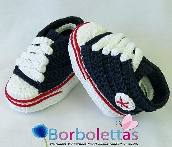 Patucos para Bebé, tipo Converse, 3 6 meses, Azul Marino