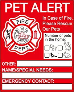 Pet Alert Safety Fire Rescue Sticker - 8Pack Pet Emergency Window Decals -Save Our Pets Emergency Pet Inside Decal - Firefighters will see alert on the window, door, or house and rescue your cat / dog