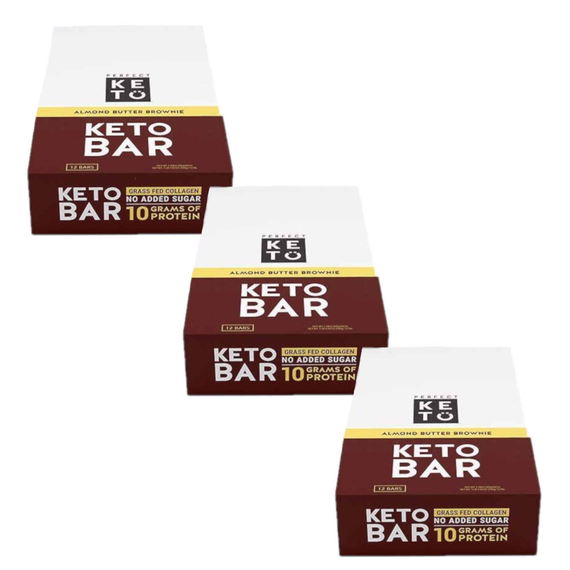 New! Perfect Keto Bar, Keto Snack (12 Count), No Added Sugar. 10g of Protein, Coconut Oil, and Collagen, with a Touch of Sea Salt and Stevia. (3 Boxes, Almond Butter)