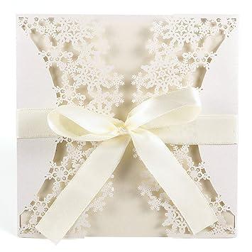 10er Schneeflocke Ivory Weiss Einladungskarten Elegant Spitze Design Mit  Karten, Umschläge, Schleifer, Einlegeblätter