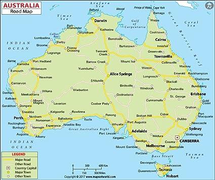Map Of Australia Highways.Amazon Com Australia Highway Map Laminated 36 W X 30 14 H