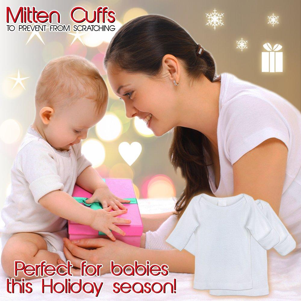 Comfort Essentials 0-3 Months Girls /& Boys Mitten Cuffs Newborn Long Sleeve T-Shirts White Cotton Undershirts 4-Pack