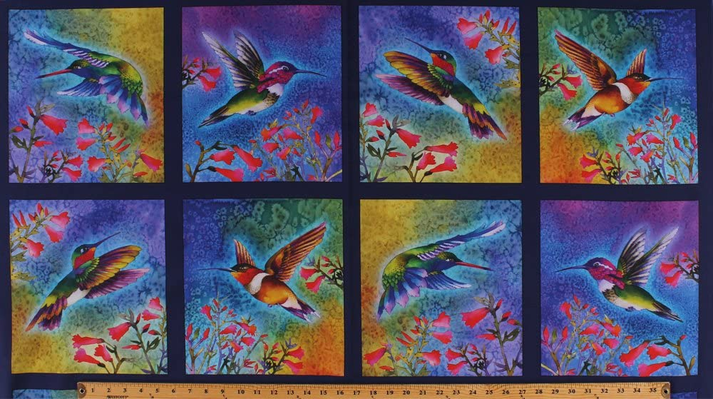 "23.5"" X 44"" Panel Hummingbirds Birds Flowers Floral Squares Spring Nature Studies Digital Print Cotton Fabric Panel (AND-17300-195BRIGHT)"