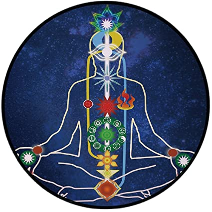 Amazon.com: Printing Round Rug, Yoga, Scheme of Power Body ...