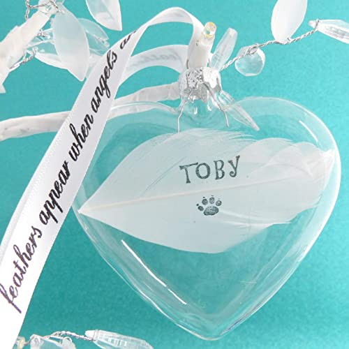 White Feather Memory Heart Bauble Personalised Hanging Decoration