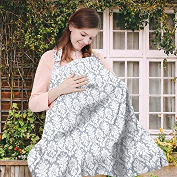 eec3e66abf7b4 Amazon.com : Wsky Nursing Cover - Baby Best Breastfeeding - Infant Feeding  Cover - Full Coverage, 100% Breathable Soft Cotton, Stylish and Elegant :  Baby