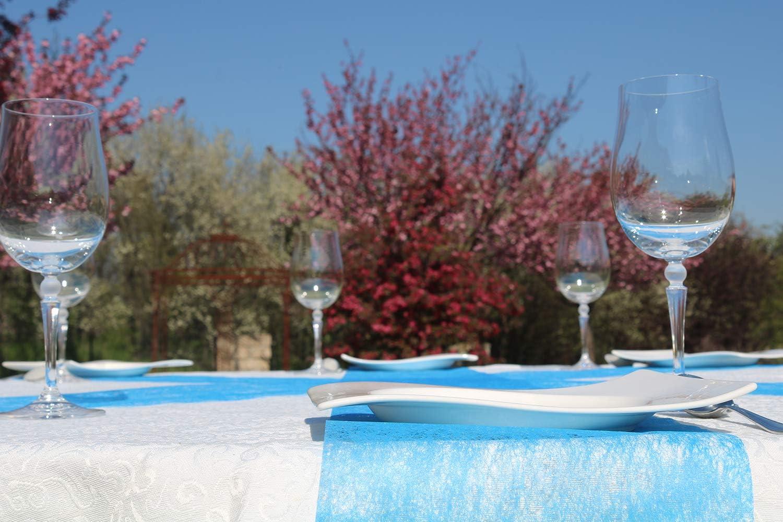 25m roll navy blue AmaCasa table runner Non-woven table ribbon flower decoration wedding communion 23cm