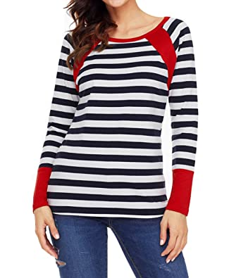 0e071b6f32e Milliwin Women Grey Splice Accent Navy White Striped Long Sleeve Shirt  Colorblock Tops Pullover Tunic at Amazon Women's Clothing store: